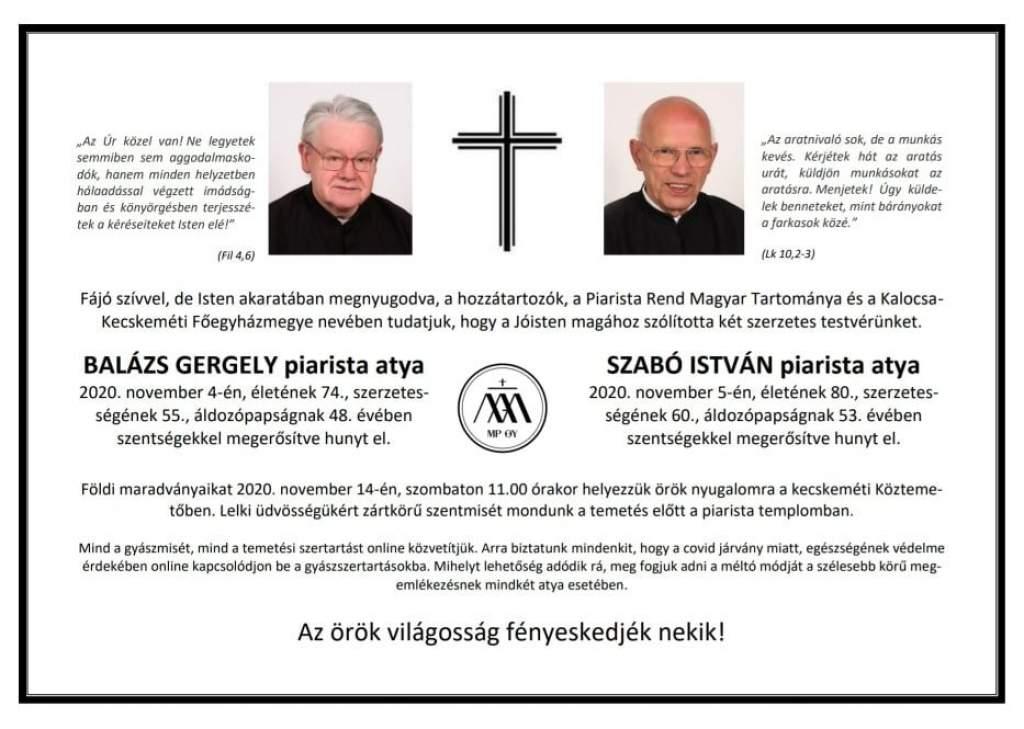 Utolsó útjára kísérték Balázs Gergely és Szabó István piarista atyákat